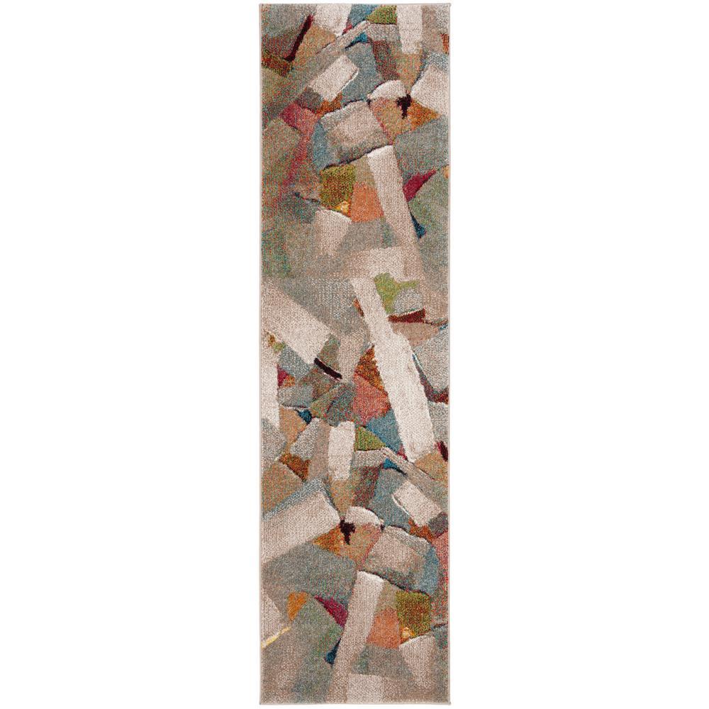 Safavieh Porcello Gray/Multi 2 ft. 3 in. x 8 ft. Runner Rug