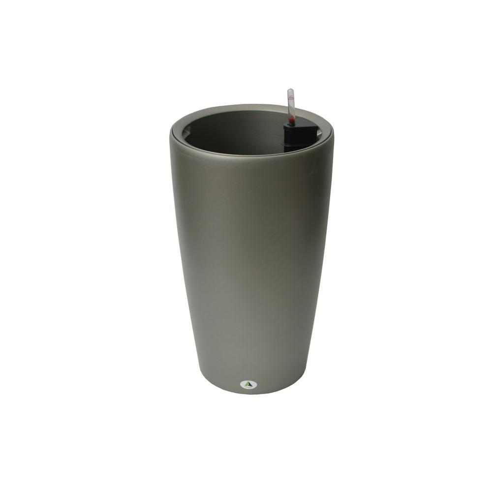 Modena 22 in. Round Granite Self-Watering Plastic Planter