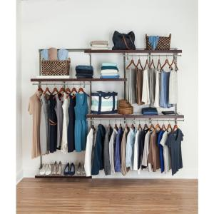 ShelfTrack 5 Ft. To 8 Ft. Nickel Wire Closet Organizer Kit With Wood Trim.  ClosetMaid ...