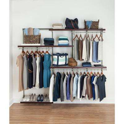 ShelfTrack 5 ft. to 8 ft. Nickel Wire Closet Organizer Kit with Wood Trim
