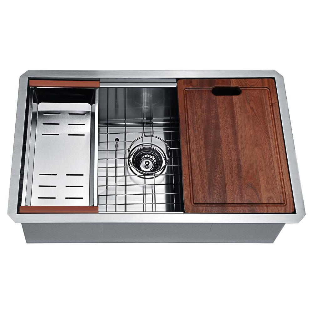 ANZZI Aegis Undermount Stainless Steel 30 in. Single Bowl Kitchen Sink with  Cutting Board and Colander