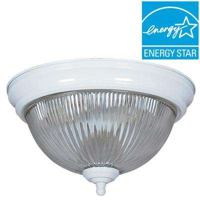 2-Light White Flush Mount