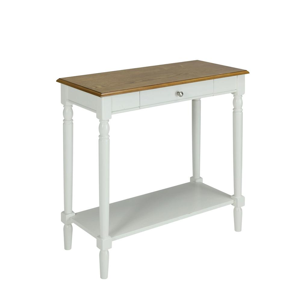Convenience concepts french country rustic oak and white for White foyer table