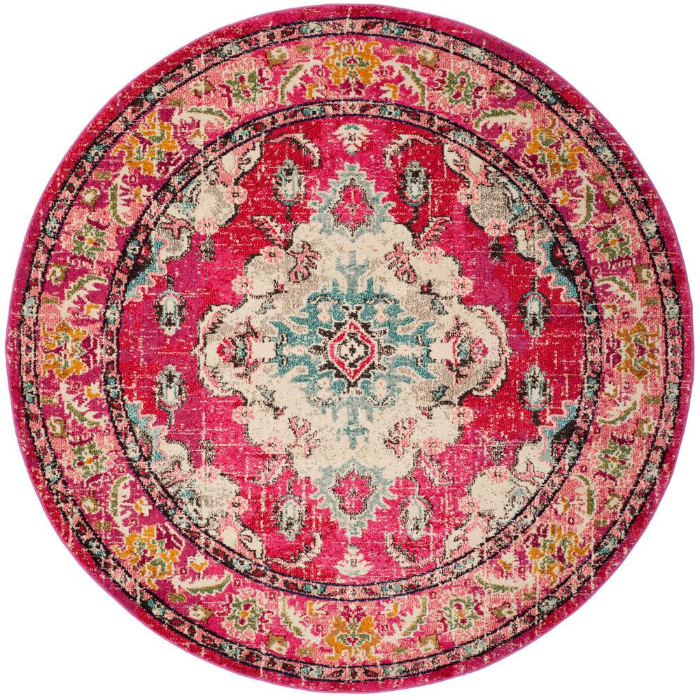 Safavieh Monaco Pink Multi 9 Ft X Round Area Rug