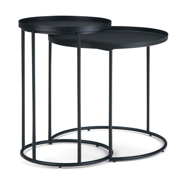 Monet Modern Industrial Round 24 in. Wide Metal 2-Piece Nesting Table in Black