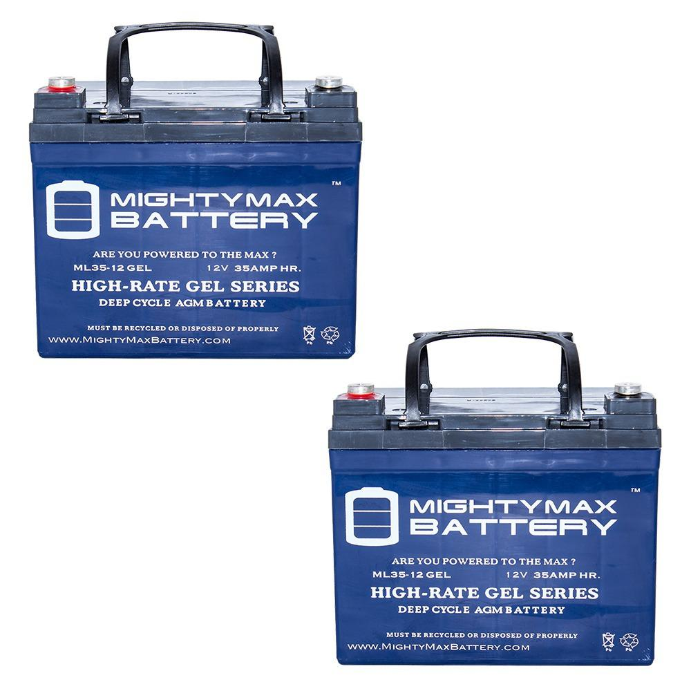 MIGHTY MAX BATTERY 12-Volt 35 Ah SLA (Sealed Lead Acid) GEL AGM Type Internal Medical Mobility Replacement Battery (2-Pack)