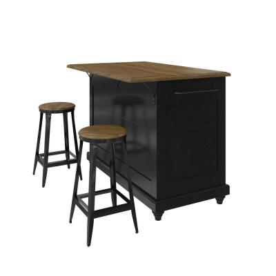 Petra Black 3-Piece Kitchen Island with 2-Stools