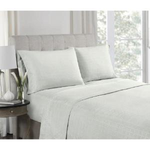 High Point 4-Piece Grey Embossed Microfiber King Sheet Set by High Point