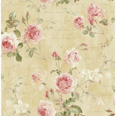 Charleston Floral Blush and Latte Calligraphy Wallpaper