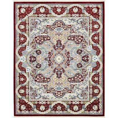 Tabriz Burgundy 8 ft. x 10 ft. Area Rug