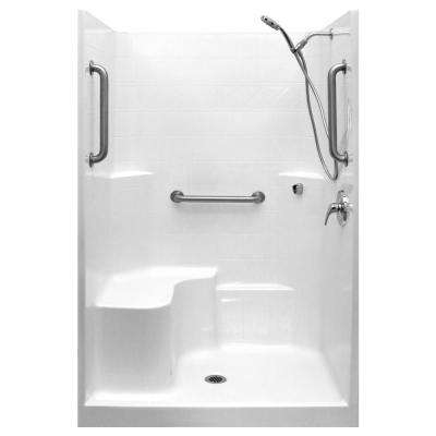 Classic-SA 37 in. x 48 in. x 80 in. 1-Piece Low Threshold Shower Stall in White, Shower Kit, Molded Seat, Center Drain