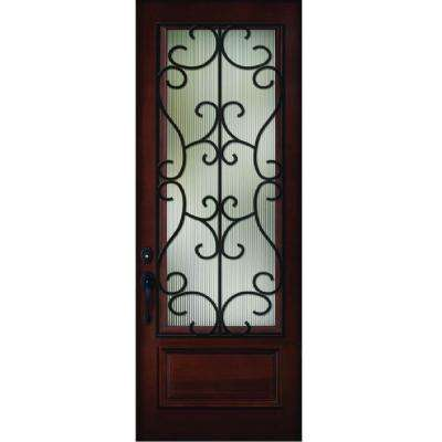 Decorative Iron Grille 3/4- Lite Stained Mahogany Wood Prehung Front Door