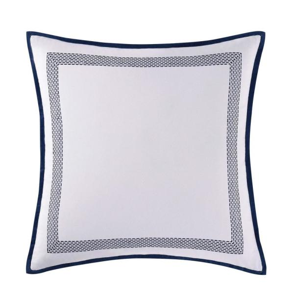 Reef White and Blue Euro Pillow Cover