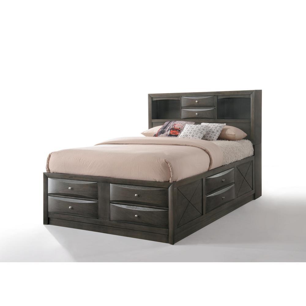 Ireland Gray Oak Storage Eastern King Bed