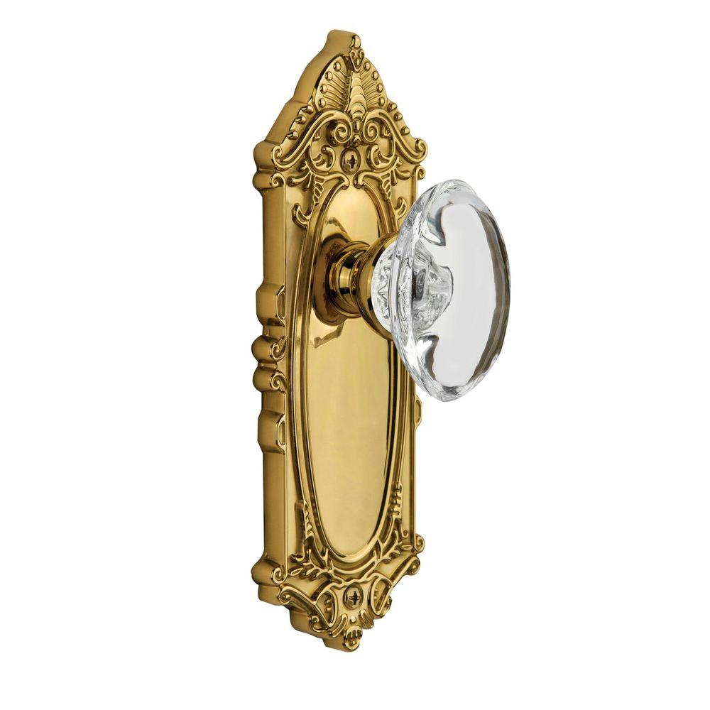 null Grandeur Lifetime Brass Privacy Grande Victorian Plate with Provence Crystal Knob