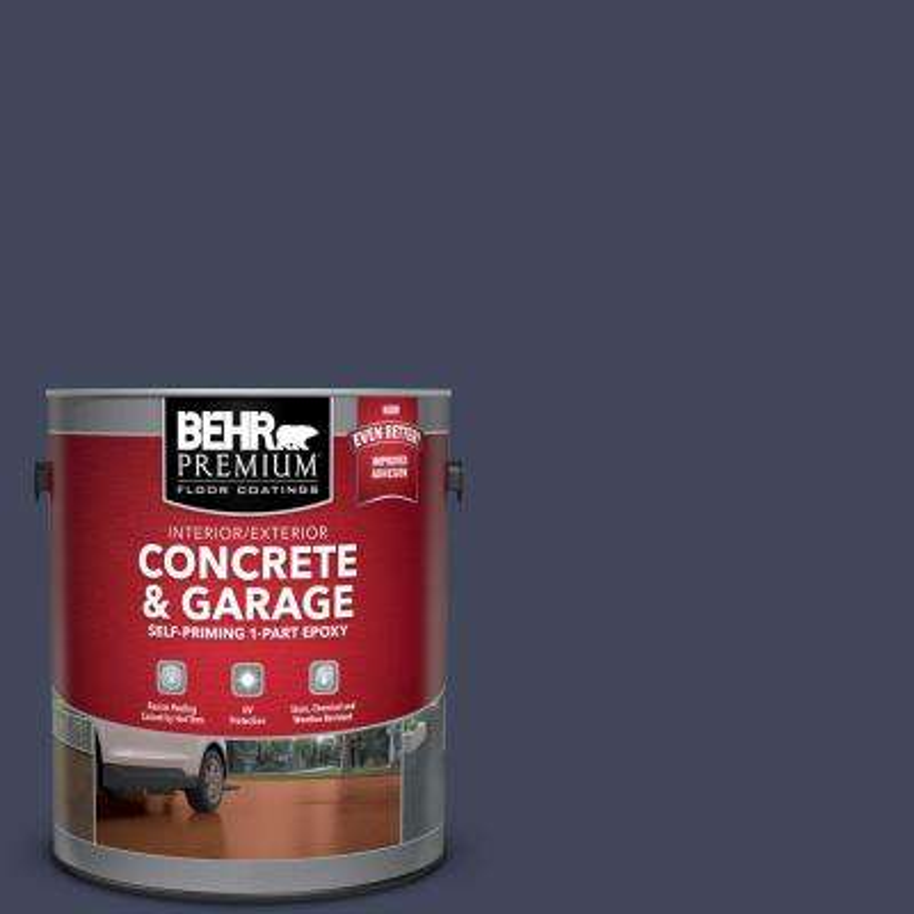 1 gal. #S530-7 Dark Navy Self-Priming 1-Part Epoxy Satin Interior/Exterior Concrete and Garage Floor Paint