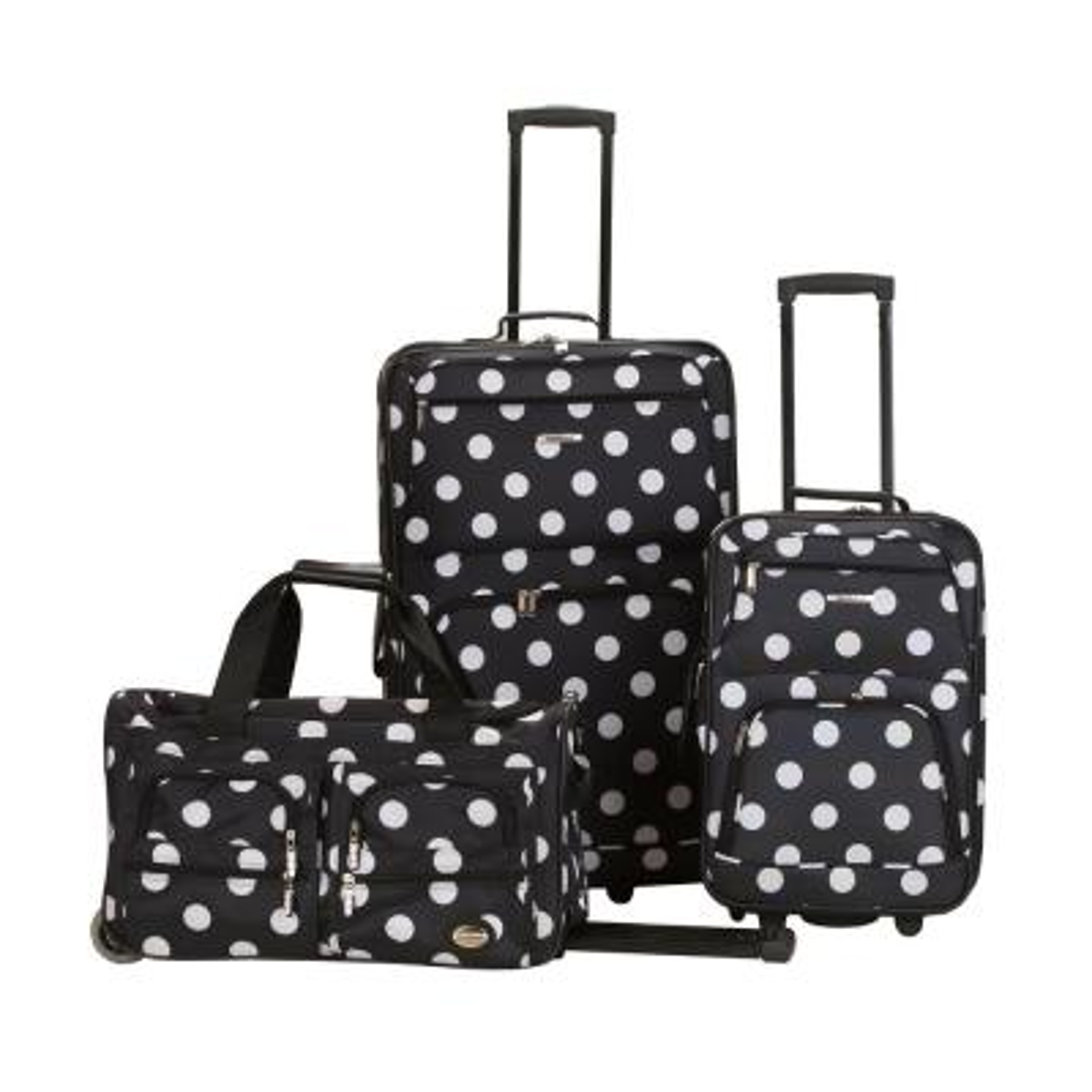 Rockland Expandable Spectra 3-Piece Softside Luggage Set, Blackdot