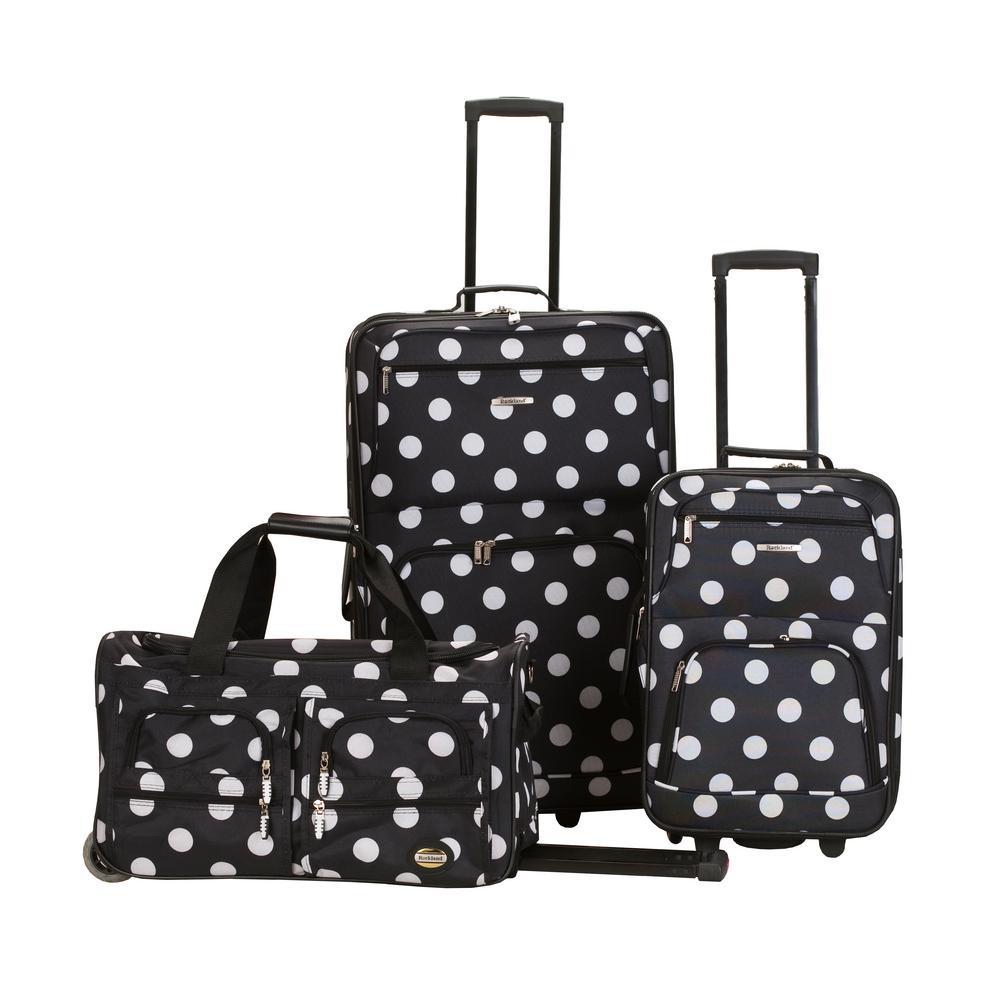 Rockland Rockland Expandable Spectra 3-Piece Softside Luggage Set, Blackdot