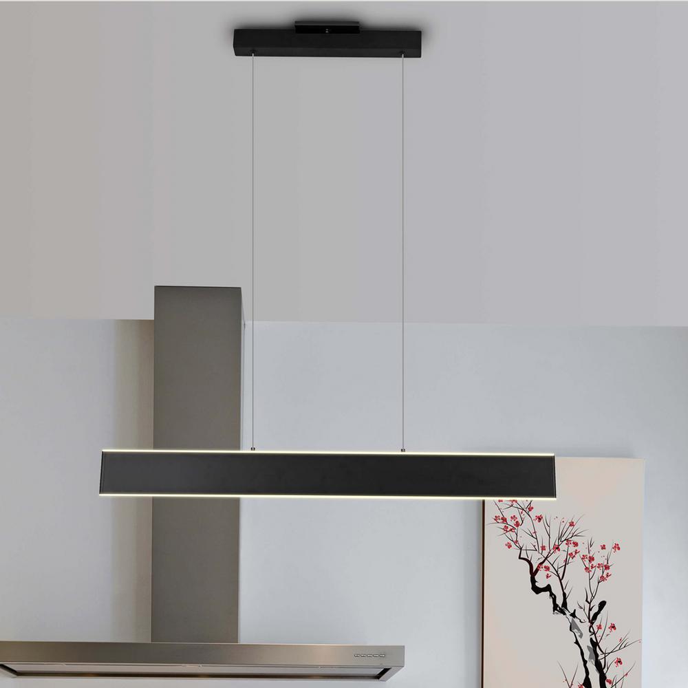 Wezen 43-Watt Black Integrated LED Linear Chandelier