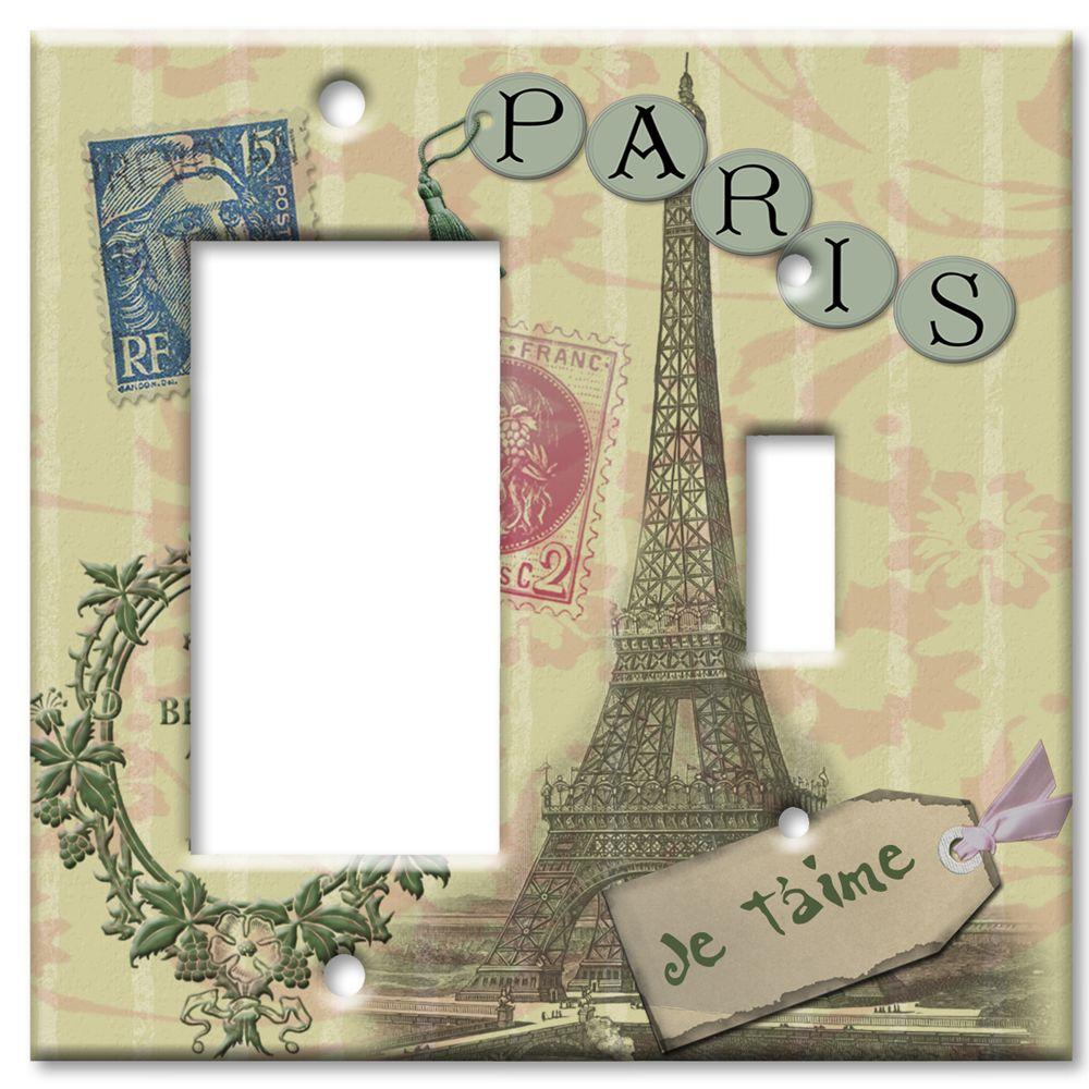 Art Plates Paris Je T'aime Rocker/Switch Combo Wall Plate
