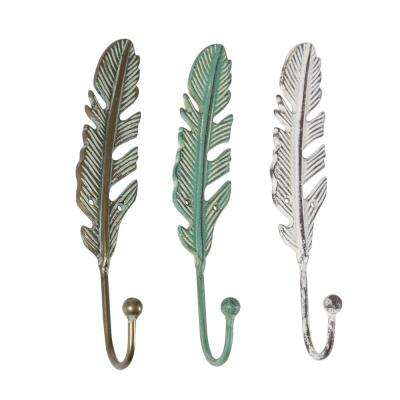 2 in. Distressed Bronze, Cyan, and White Iron Metal Feather Wall Hooks (Set of 3)