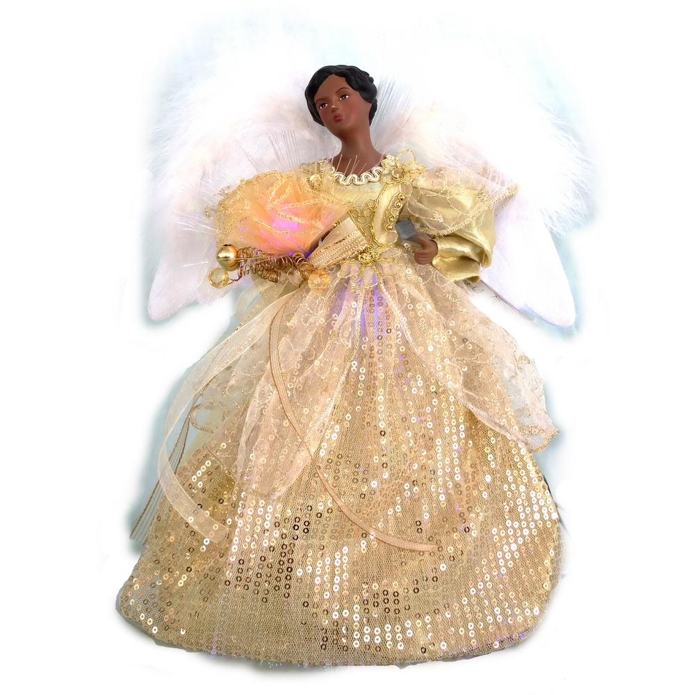 Christmas Tree Angel Tree Topper: Home Accents Holiday 12 In. A/F LED Fiber Optic Angel Gold