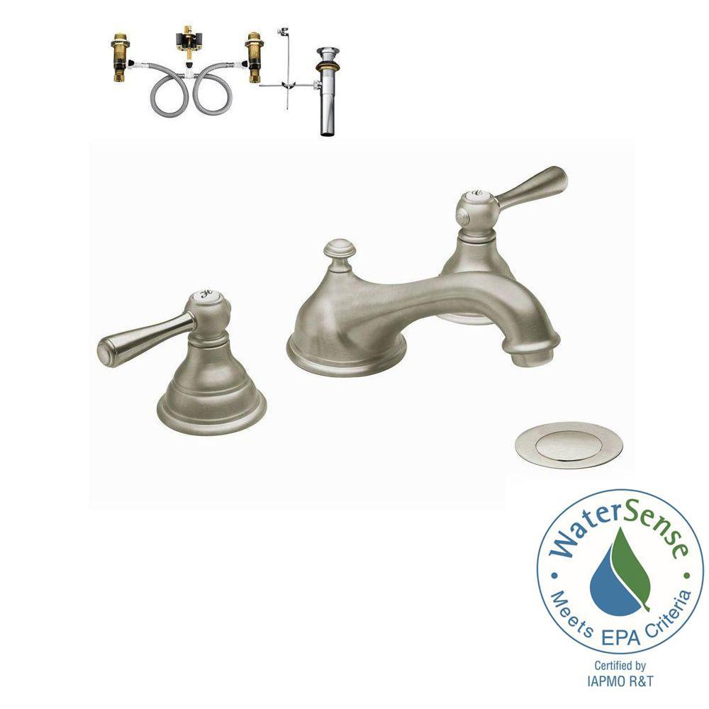 Kingsley 8 in. Widespread 2-Handle Low-Arc Bathroom Faucet Trim Kit with Valve in Brushed Nickel