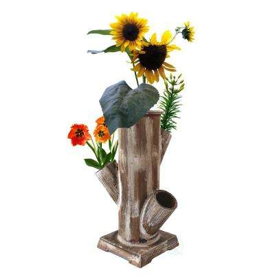 Tree Stump Style Flower Planter with 4 Planting Slots