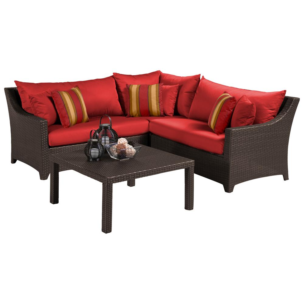 RST Brands Deco 4-Piece Patio Sectional Seating Set with Cantina Red Cushions