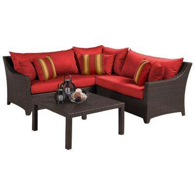 Deco 4-Piece Patio Sectional Seating Set with Cantina Red Cushions