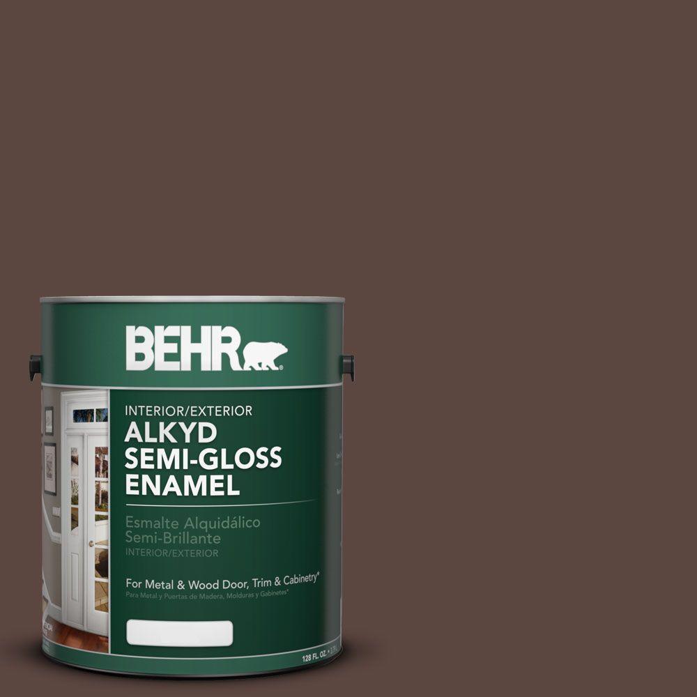 BEHR 1-gal. #AE-18 Nomad Brown Semi-Gloss Enamel Alkyd Interior/Exterior Paint