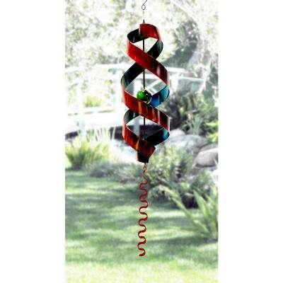 34 in. Red and Blue Swirl Metal Decor with Red Tail