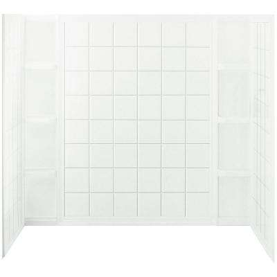 Ensemble Tile 37-1/2 in. x 60 in. x 54-1/4 in. 3-piece Direct-to-Stud Tub and Shower Wall Set in White
