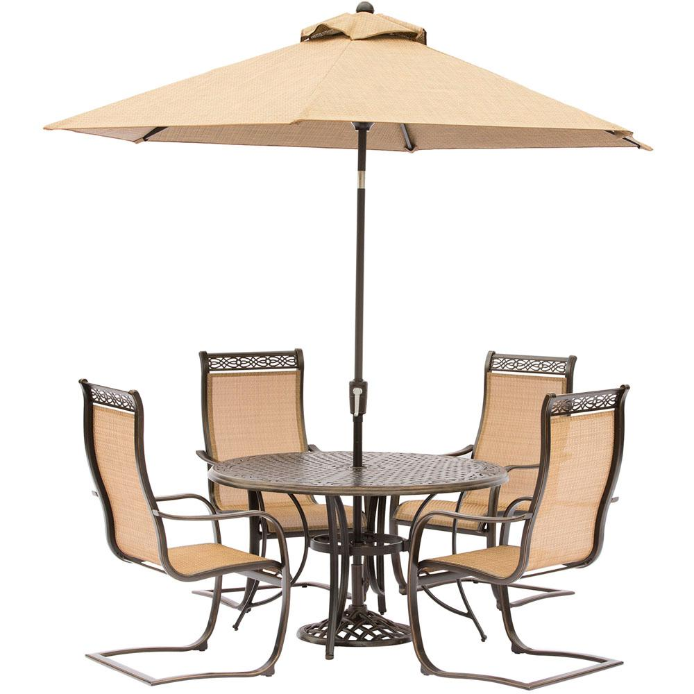 Hanover manor 5 piece aluminum round outdoor dining set for Patio table and umbrella sets