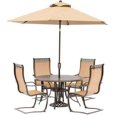 Manor 5-Piece Aluminum Round Outdoor Dining Set with Spring Sling Chairs, Cast-Top Table, Umbrella and Umbrella Stand
