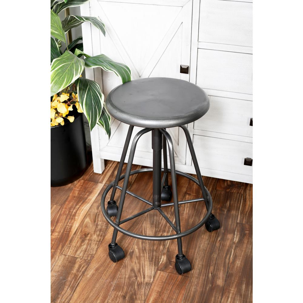 Black iron bar stool with wheels