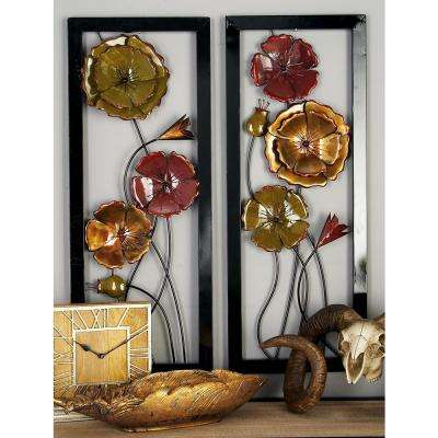 Rustic Multi-Colored Tin Flower Wall Art (Set of 2)