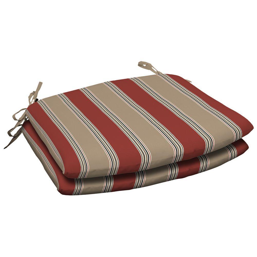 Hampton Bay Chili Stripe Wrought Iron Seat Cushion 2 Pack-DISCONTINUED