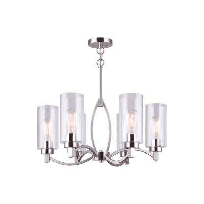 Chelsey 6-Light Brushed Nickel Chandelier with Clear Glass Shades