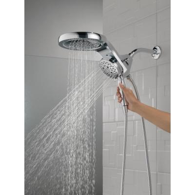 HydroRain Two-in-One 5-Spray 6 in. Dual Wall Mount Fixed and Handheld H2Okinetic Shower Head in Chrome