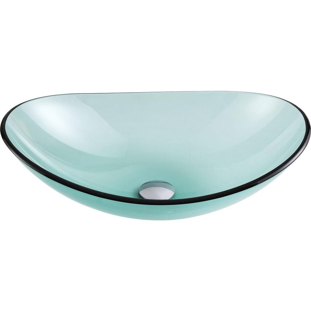 Anzzi Major Series Deco Glass Vessel Sink In Lustrous Green Ls Az076 The Home Depot