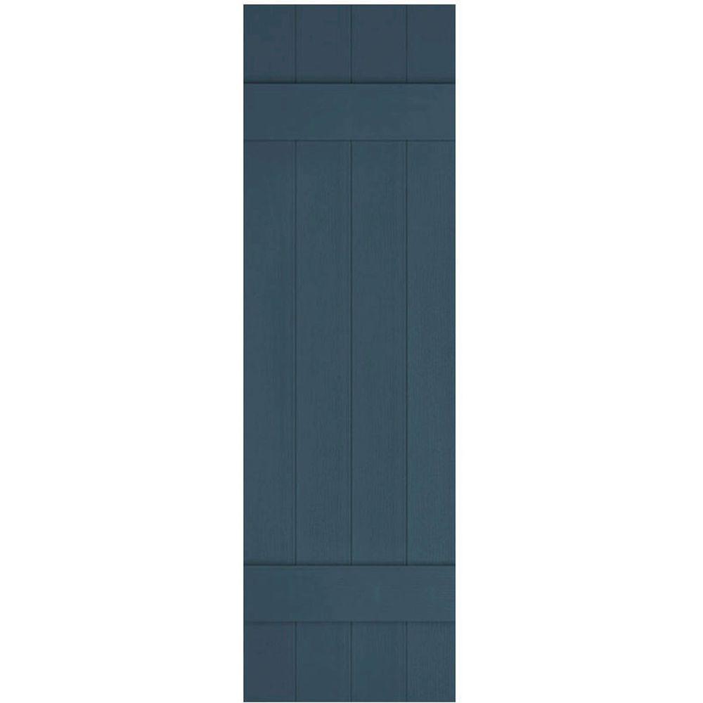 Ekena Millwork 14 in. x 35 in. Lifetime Vinyl Custom Four Board Joined Board and Batten Shutters Pair Classic Blue