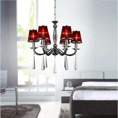 Dina 6-Light Chrome Chandelier with Red Shade