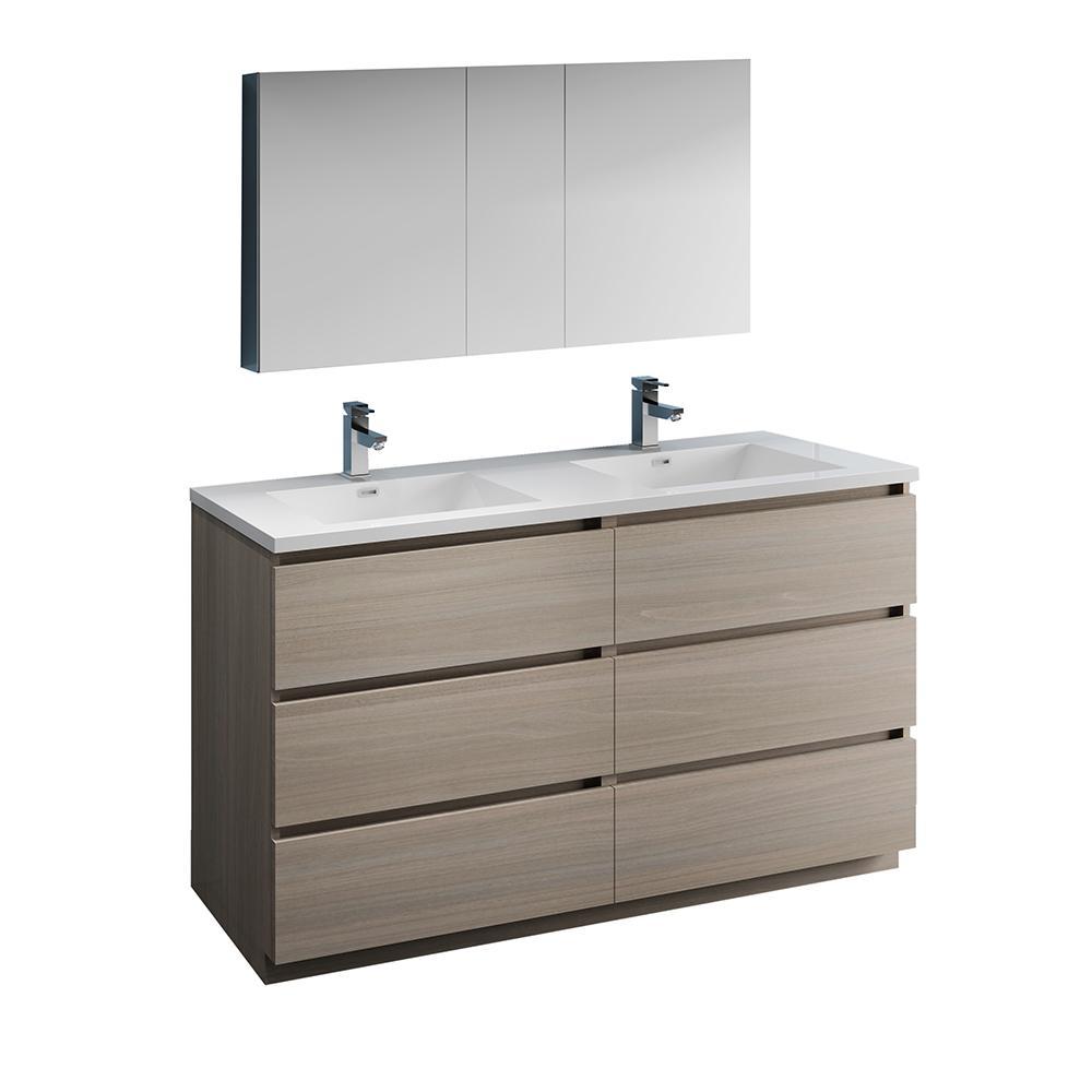 Fresca Lazzaro 60 in. Modern Double Bathroom Vanity in ...