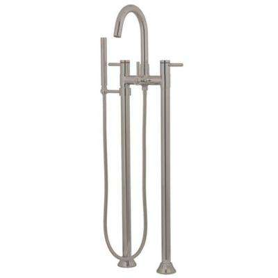 High-Arc 2-Handle Claw Foot Tub Faucet with Handshower in Satin Nickel