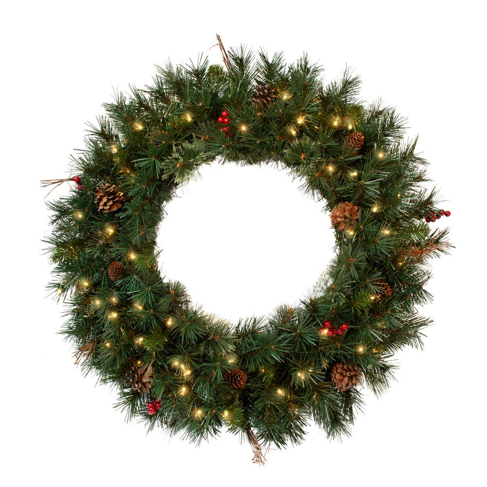 Pre-Lit Christmas Wreath with 70UL Light, 165 Tips, Pine Cones, Berry and Twigs