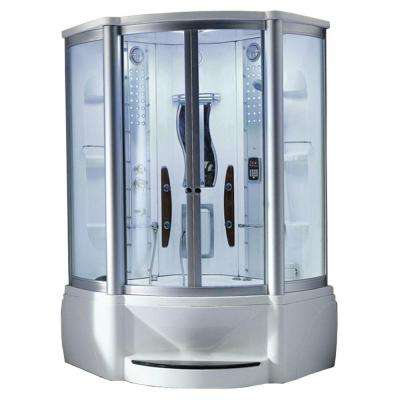 55 in. x 55 in. x 89 in. Steam Shower Enclosure Kit with Whirlpool Tub in White