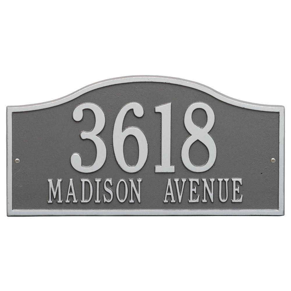 Whitehall Products Rolling Hills Rectangular Pewter/Silver Grande Wall 2-Line Address Plaque