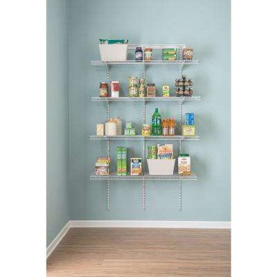 ShelfTrack 16.75 in. D x 48 in. W x 80 in. H White Wire Utility Steel Closet System Kit