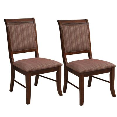 Brown Wooden Side Chair with Fabric Upholstered Seat and Back (Set of 2)